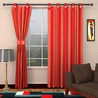 SEVEN STARS Cotton Red Striped Curtain Window Curtain 150 Cm In Height, Single Curtain