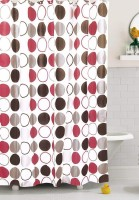 Fogg PVC Red Printed Ring Rod Shower Curtain 78 Cm In Height, Single Curtain