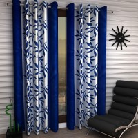 Home Sizzler Polyester Blue Floral Eyelet Window Curtain 150 Cm In Height, Pack Of 2