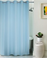 Lushomes Polyester Blue Self Design Eyelet Shower Curtain 210 Cm In Height, Single Curtain