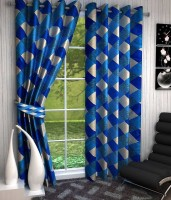 Excel Bazaar Polyester Blue Geometric Eyelet Door Curtain 212 Cm In Height, Pack Of 2