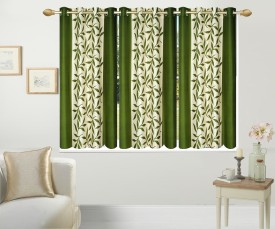Excel Bazaar Polycotton Green Floral Eyelet Window Curtain