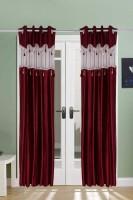 The Handloom Store Polyester, Tissue Maroon Self Design Eyelet Window & Door Curtain 215 Cm In Height, Pack Of 2