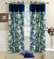 Homefab India Polyester Blue Geometric Eyelet Door Curtain 210 Cm In Height, Pack Of 2