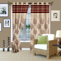 Story @ Home Jacquard Maroon Window Curtain 145.2 Cm In Height, Single Curtain