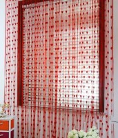 K Decor Polyester Red Printed Door Curtain 84 Inch In Height, Pack Of 2