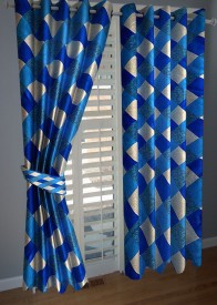 BNA Decor Polyester Blue Abstract Eyelet Door Curtain