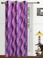 Dekor World Polyester Purple Floral Tab Top Door Curtain 215 Cm In Height, Single Curtain