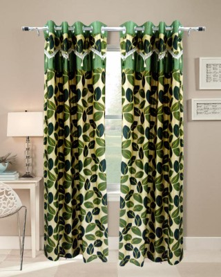 Homefab India Polyester Green Floral Eyelet Long Door Curtain (272 cm in Height, Single Curtain)