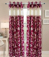 Sajaawat Polyester Red Floral Curtain Door Curtain 213 Cm In Height, Pack Of 2
