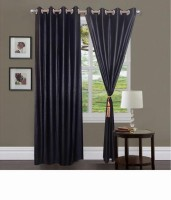 SLV Home Decor Polyester Wine Plain Eyelet Window Curtain 152.4 Cm In Height, Pack Of 2