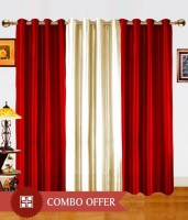 BNA Decor Polyester Red Plain Eyelet Long Door Curtain 275 Cm In Height, Pack Of 3