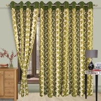Cortina Polyester Green Floral Eyelet Door Curtain 210 Cm In Height, Single Curtain