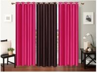 Neelgiri Polyester Multicolour Plain Curtain Door Curtain 213 Cm In Height, Pack Of 3