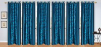 Stella Creations Polyester Light Blue Printed Eyelet Long Door Curtain 274 Cm In Height, Pack Of 6