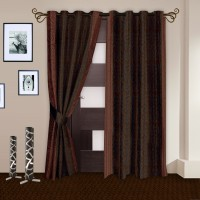 Story @ Home Polyester Brown Abstract Door Curtain 215 Cm In Height, Pack Of 2