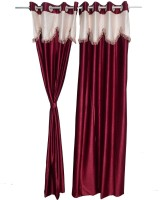 Jh Decore Polyester Maroon Plain Eyelet Door Curtain 215 Cm In Height, Single Curtain