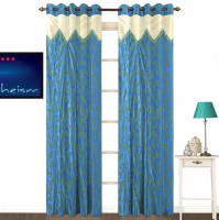 Fabutex Polyester Blue Plain Eyelet Door Curtain 213 Cm In Height, Pack Of 2