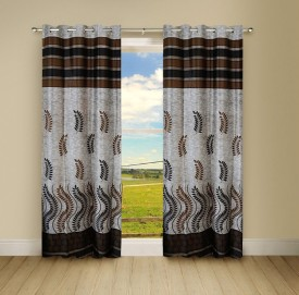 Pindia Polyester Multi Printed Eyelet Door Curtain