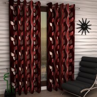 Home Sizzler Polyester Maroon Floral Eyelet Door Curtain 210 Cm In Height, Pack Of 2