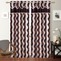 Shop 24 Decor Polyester Brown Printed Curtain Window Curtain 152 Cm In Height, Pack Of 3