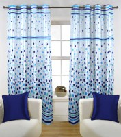 Enaakshi Polyester Blue Geometric Eyelet Door Curtain 86 M In Height, Single Curtain