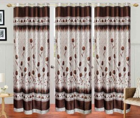 Stella Creations Polyester Brown Printed Eyelet Door Curtain
