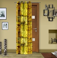 Story @ Home Polyester Lime Printed Eyelet Door Curtain 215 Cm In Height, Single Curtain