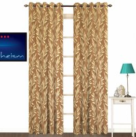 Fabutex Polyester Brown With Silver Floral Eyelet Door Curtain 213 Cm In Height, Pack Of 2