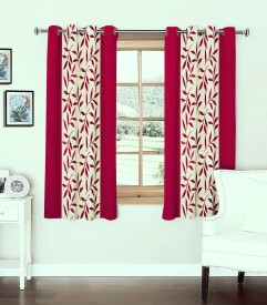 Optimistic Home Furnishing Polyester Pink Floral Eyelet Window Curtain