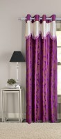 Trendy Home Polyester Purple Printed Eyelet Door Curtain 203.2 Cm In Height, Single Curtain