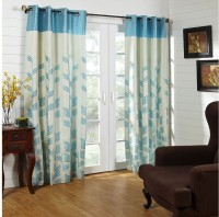 @home Polycotton Blue Printed Ring Rod Door Curtain 213.36 Cm In Height, Single Curtain