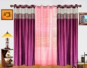 Dekor World Batik Jacquard With Sheer Door Curtain - Pack Of 3