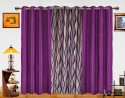 Dekor World Waves In The Air With Solid Door Curtain - Pack Of 3