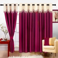 Jh Decore Polyester Purple Damask Eyelet Door Curtain 210 Cm In Height, Single Curtain
