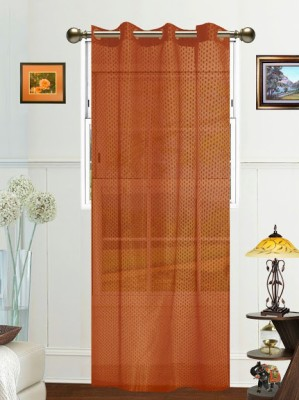 Dekor World Polyester Brown Solid Eyelet Long Door Curtain (275 cm in Height, Single Curtain)