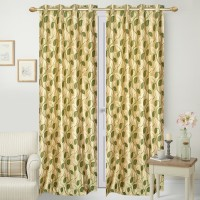 Handy Texty Polyester Green Floral Eyelet Door Curtain 210 Cm In Height, Pack Of 4
