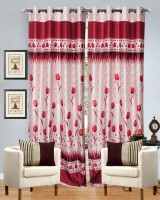 Hargunz Polyester Red Door Curtain 84 Inch In Height, Pack Of 2