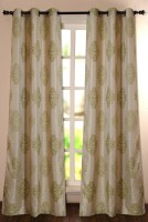Deco Window Polyester Green Motif Eyelet Door Curtain 228.6 Inch In Height, Single Curtain