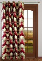 Homefab India Polyester Maroon Geometric Eyelet Long Door Curtain 2.7 M In Height, Single Curtain
