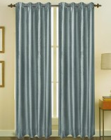 ZappyCart Polyester Steel Grey Solid Door Curtain 96 Inch In Height, Pack Of 2