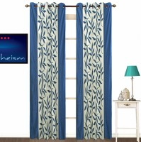 Fabutex Polyester Blue Floral Eyelet Door Curtain 210 Cm In Height, Pack Of 2