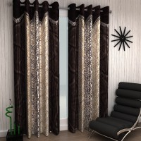 Home Sizzler Polyester Brown Abstract Eyelet Window Curtain 150 Cm In Height, Pack Of 2