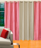 Decor Vatika Polycotton Pink, White Printed Eyelet Door Curtain (213 Cm In Height, Pack Of 3)