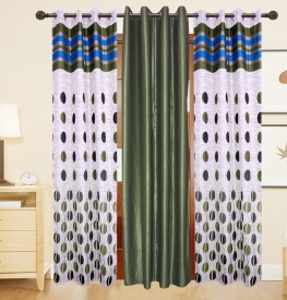 DECO INDIA Polyester Multi - Colour Abstract, Printed Eyelet Window Curtain