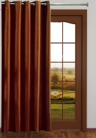 Homefab India Polyester Brown Plain Eyelet Curtain 240 Cm In Height, Single Curtain
