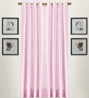 Thiwas Polyester Light Pink Plain Eyelet Door Curtain 213 Cm In Height, Pack Of 2