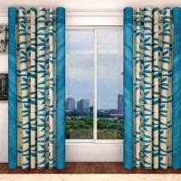 Sai Arpan Polyester Light Blue Door Curtain 213 Cm In Height, Single Curtain
