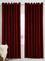 Panipat Textile Hub Polyester Maroon Plain Eyelet Window Curtain 152.4 Cm In Height, Pack Of 6
