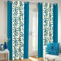 Vaamsi Polyester Blue Printed Eyelet Window & Door Curtain 214 Cm In Height, Single Curtain